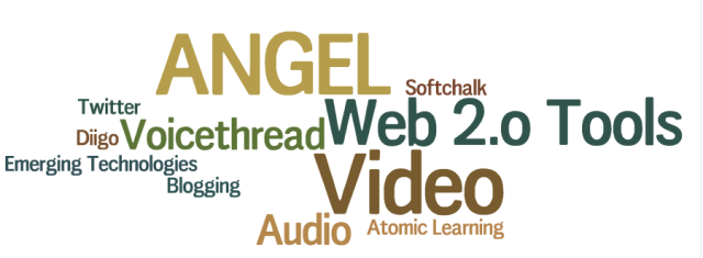 Text image of technologies: ANGEL, Softchalk, video, Diigo, Atomic Learning, etc.