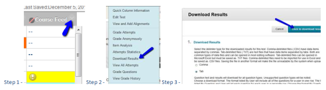 BB Learn survey and test results image of the 3 steps
